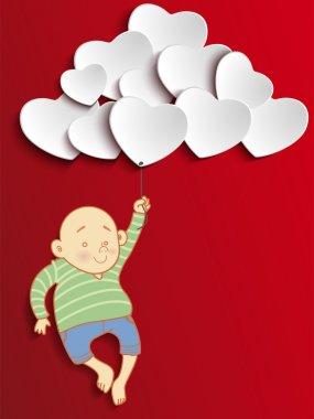 Vector - Valentines Day Heart Boy Holding Balloons clip art vector