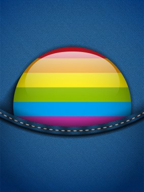 Gay Flag Button on Jeans Fabric Texture