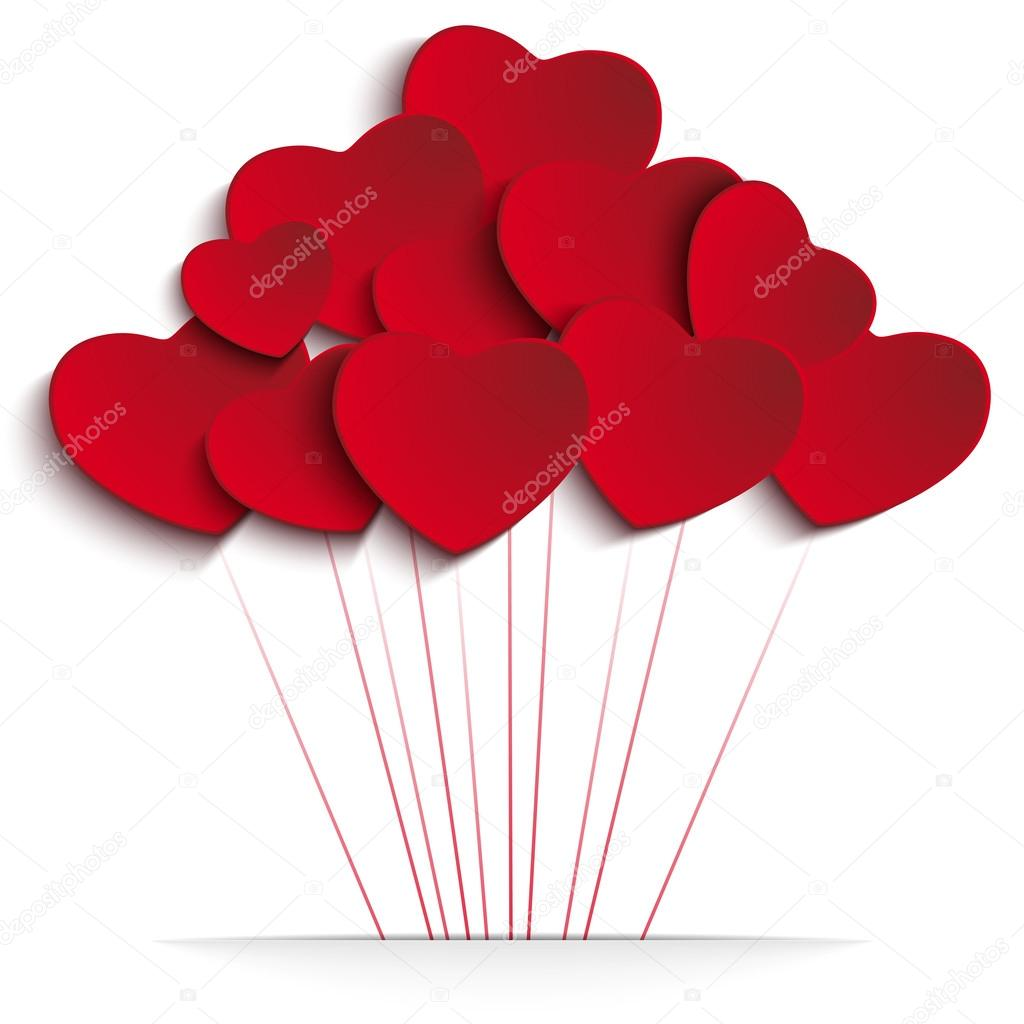 Vector - Valentines Day Heart Balloons on Red Background clipart vector