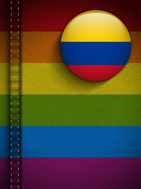 Gay Flag Button on Jeans Fabric Texture Colombia