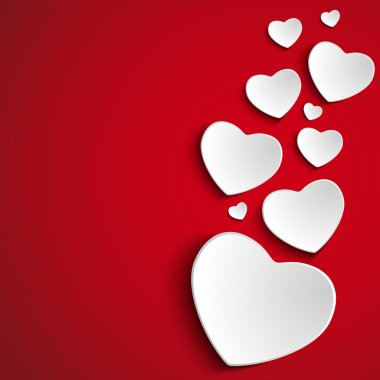 Vector - Valentine Day Heart on Red Background clip art vector