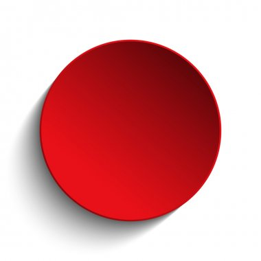 Vector - Red  Circle Button on White Background stock vector