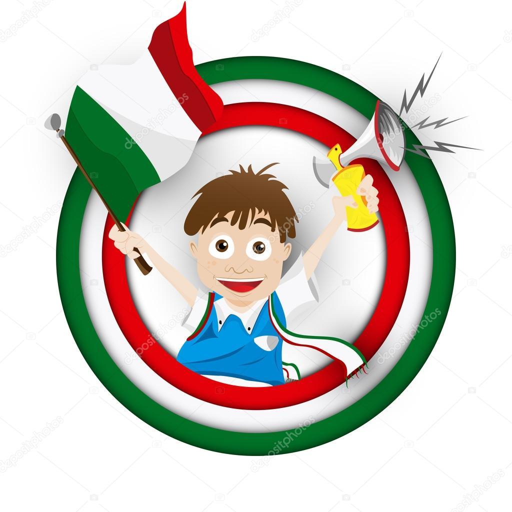 Cartone animato di italia calcio fan bandiera — vettoriali