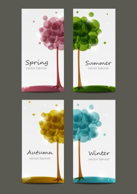 Set of four seasons banners clip art vector
