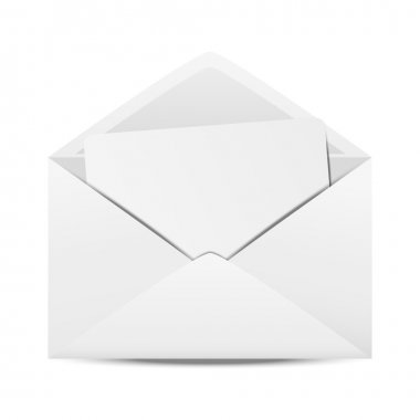 White open envelope with paper stock vector