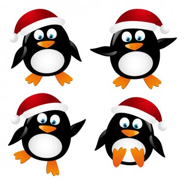 Set of penguin Santa