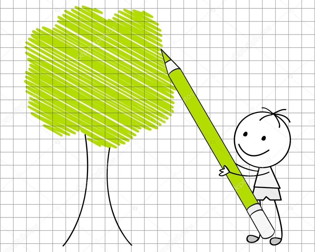 Drawing green tree