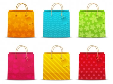 Set of color shopping bags