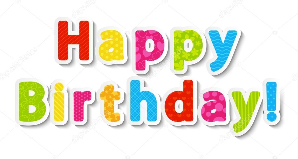 Letras de feliz cumpleaños del color del papel — Archivo Imágenes ...