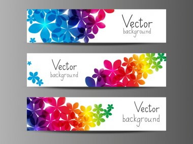 Floral horizontal banners with place for text