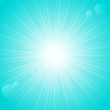 Sunny rays on blue backgrund