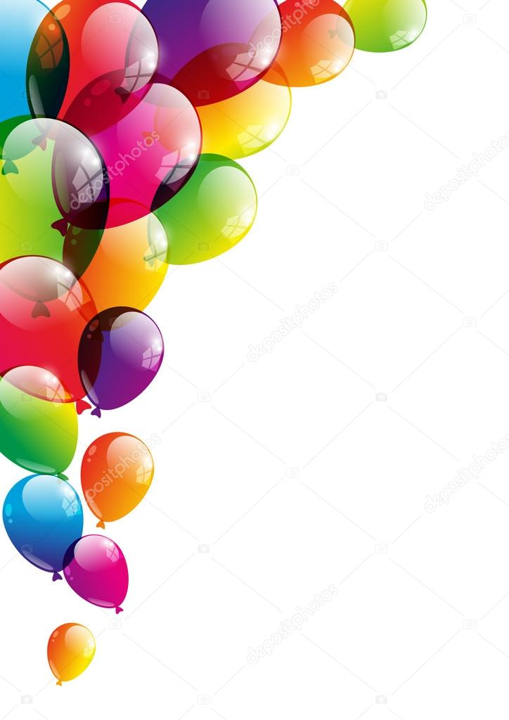 Color glossy balloons on white