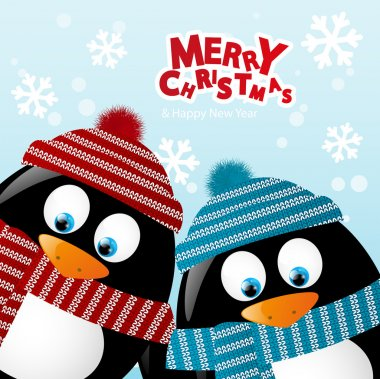 Two penguins on winter background