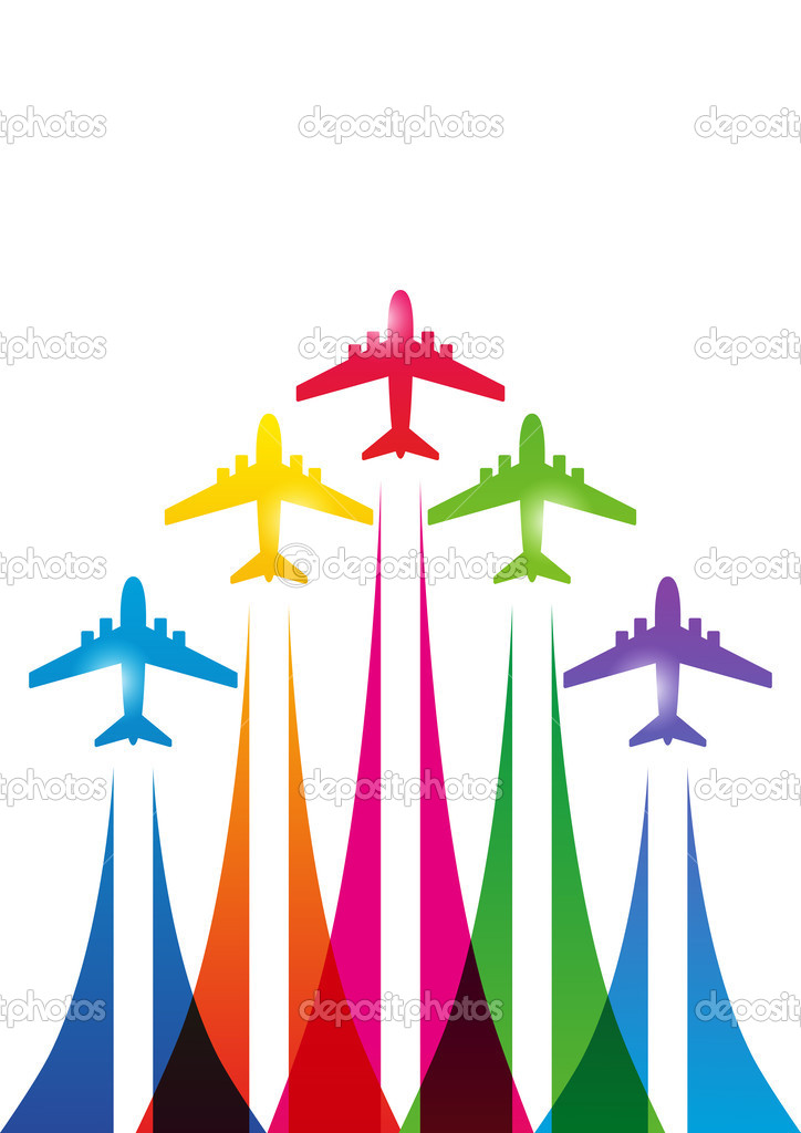 siluetas de los aviones de color en blanco — Vector de stock ...