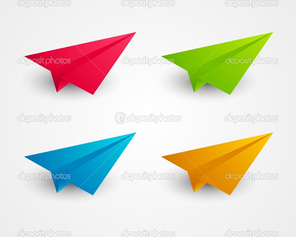 conjunto de aviones de papel de color — Archivo Imágenes Vectoriales ...