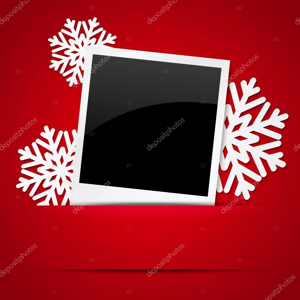 Weihnachten-Fotorahmen mit Papier Schneeflocken — Stockvektor ...