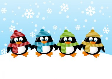 Cute penguins on winter background stock vector