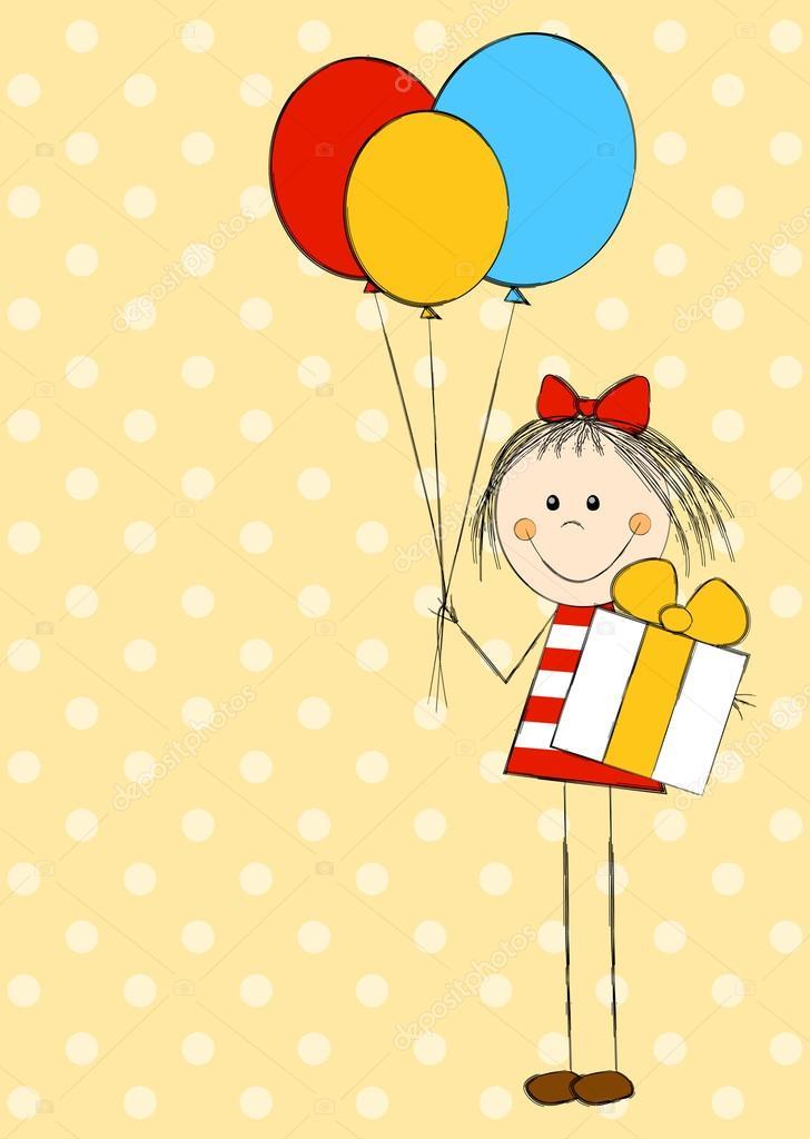 Картинки серфинг, девочка с шарами открытка
