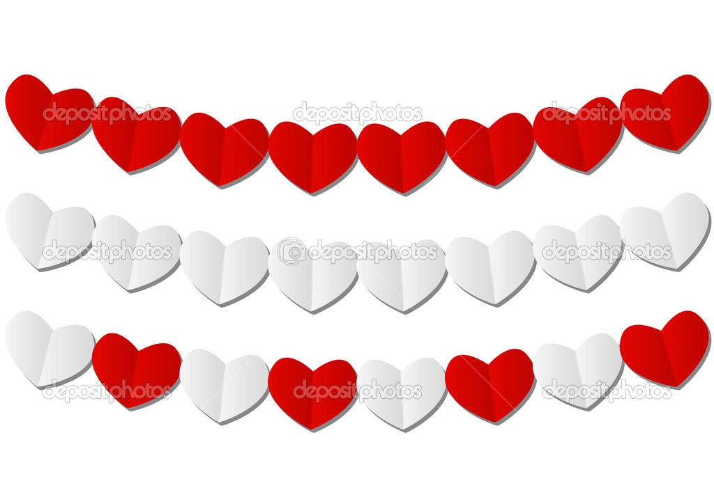 Papier-Herz-Girlanden auf weiß — Stockvektor © Huhli13 #38492013