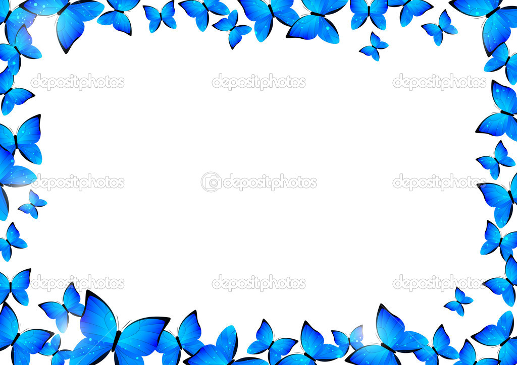 Borda borboletas azuis vetores de stock huhli13 43946799 for Bordas para mural