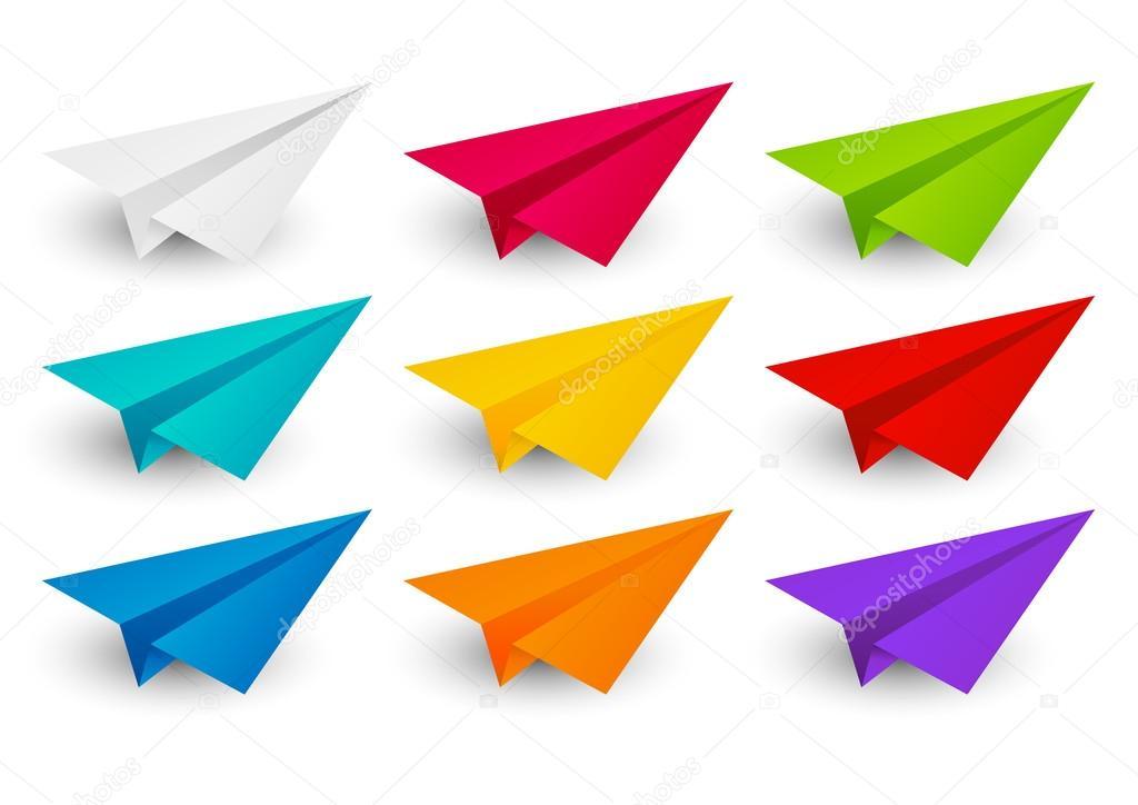 conjunto de aviones de papel de color — Vector de stock © Huhli13 ...