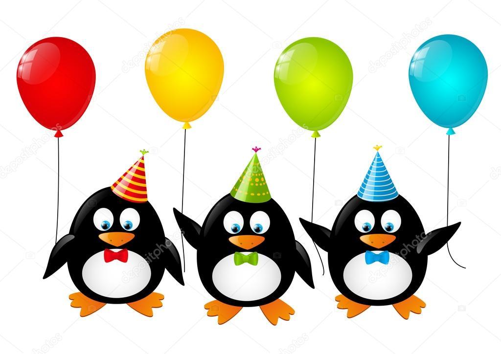 pingüinos divertidos con globos de color — Archivo Imágenes ...