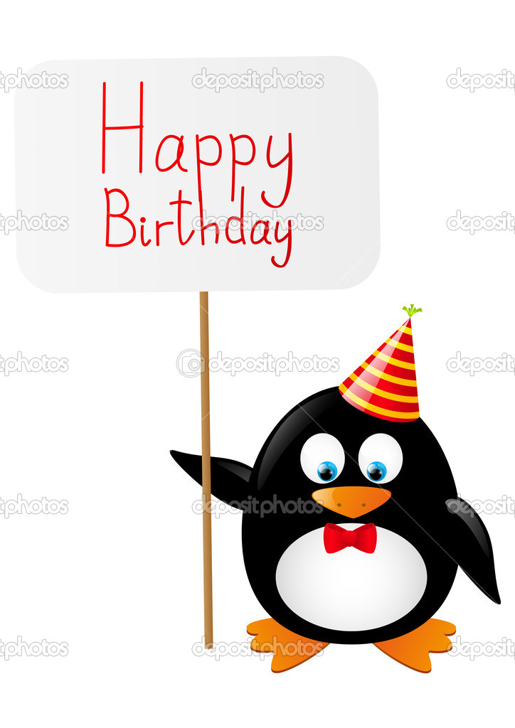 Funny Penguin With Birthday Card Stock Vector Huhli13 46439453