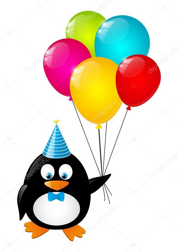 divertido del pingüino con globos de color — Vector de stock ...