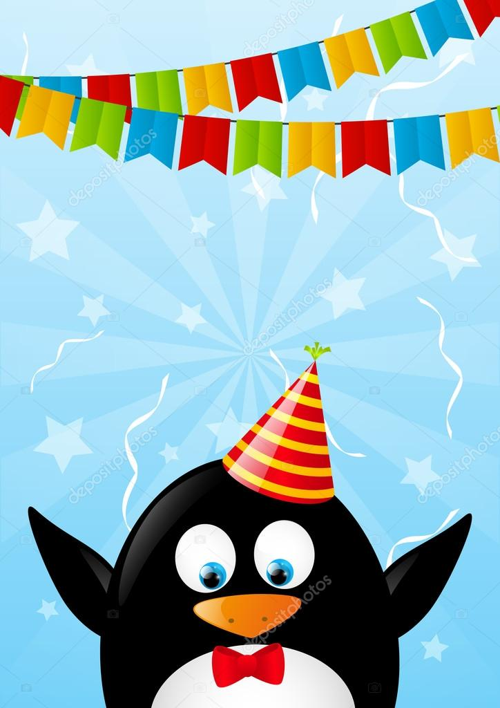 Birthday Card With Funny Penguin Stock Vector Huhli13 46697097