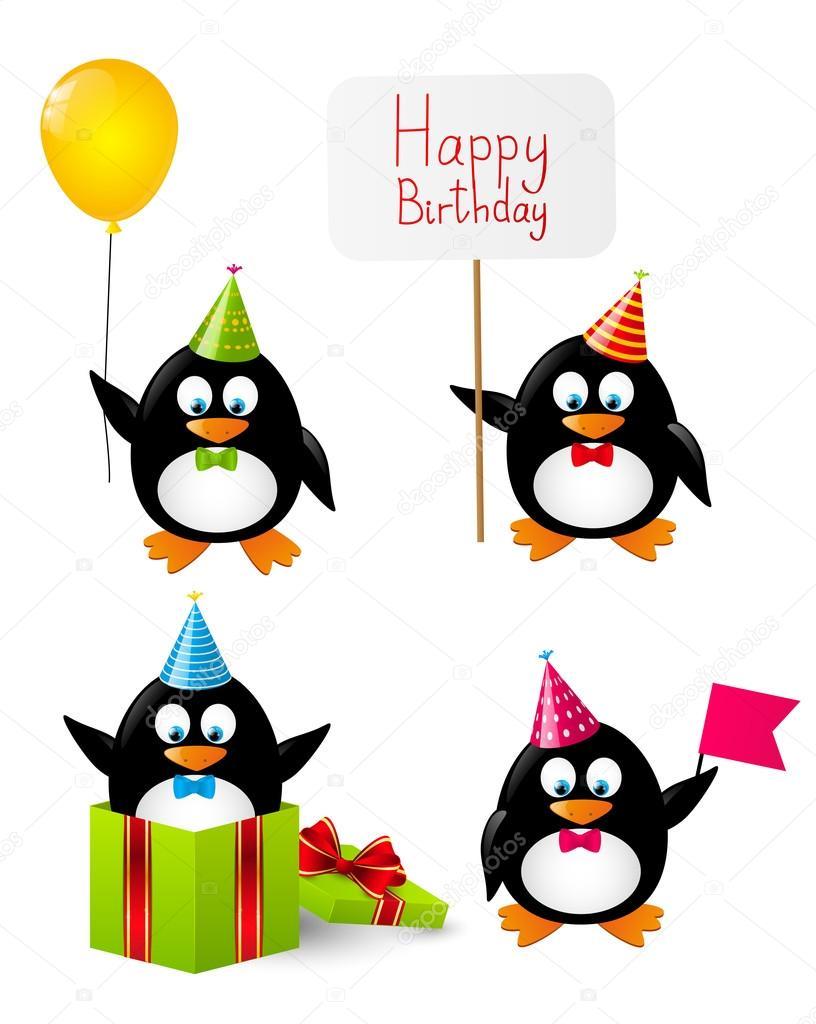 Menge Lustige Geburtstag Pinguine Stockvektor C Huhli13 46697117