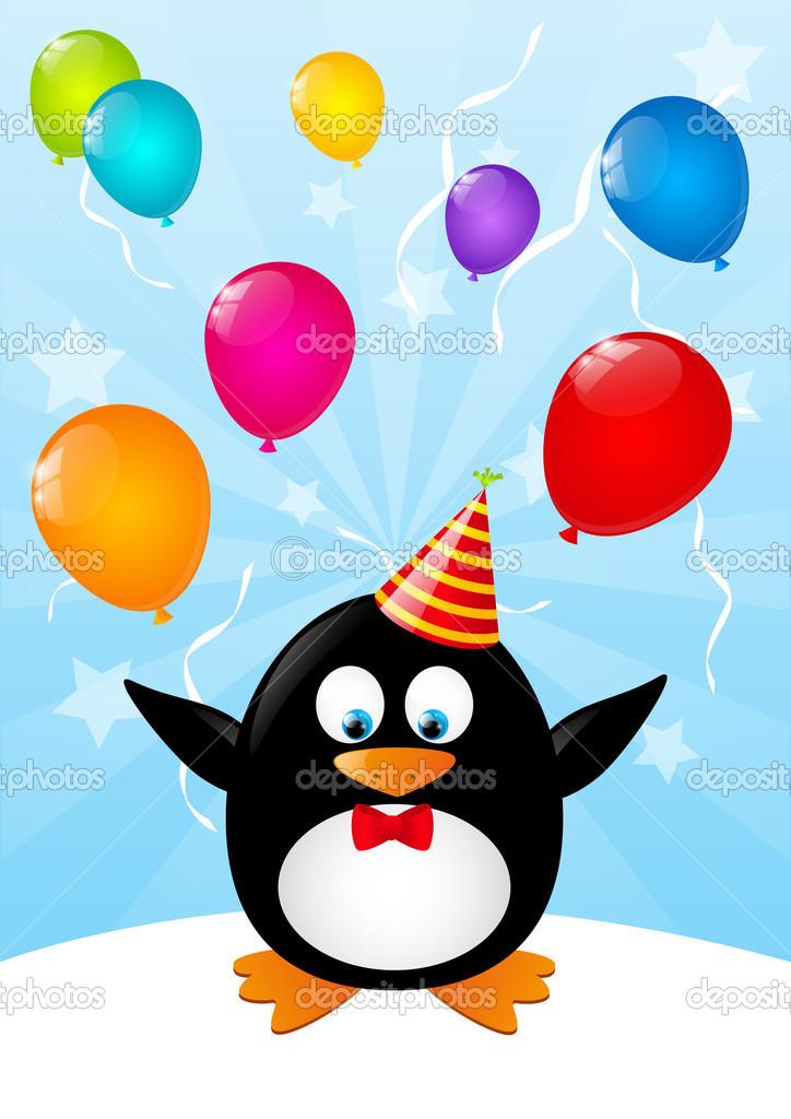 Открытка пингвин с шариками, прикольные