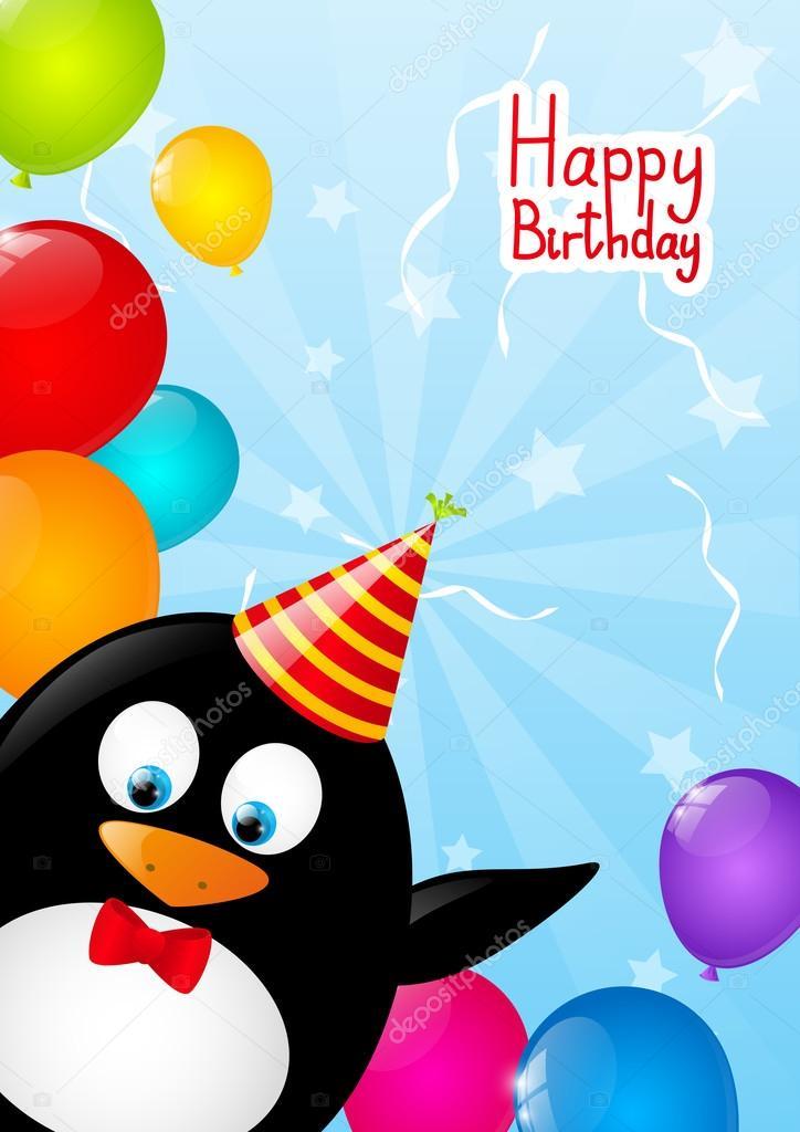 Открытка пингвин с шариками, фото программу