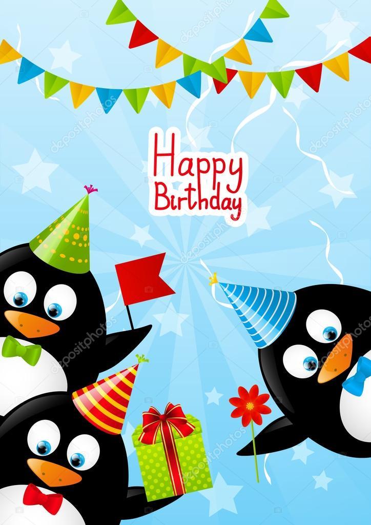 Картинка с днем рождения пингвины, картинки надписью