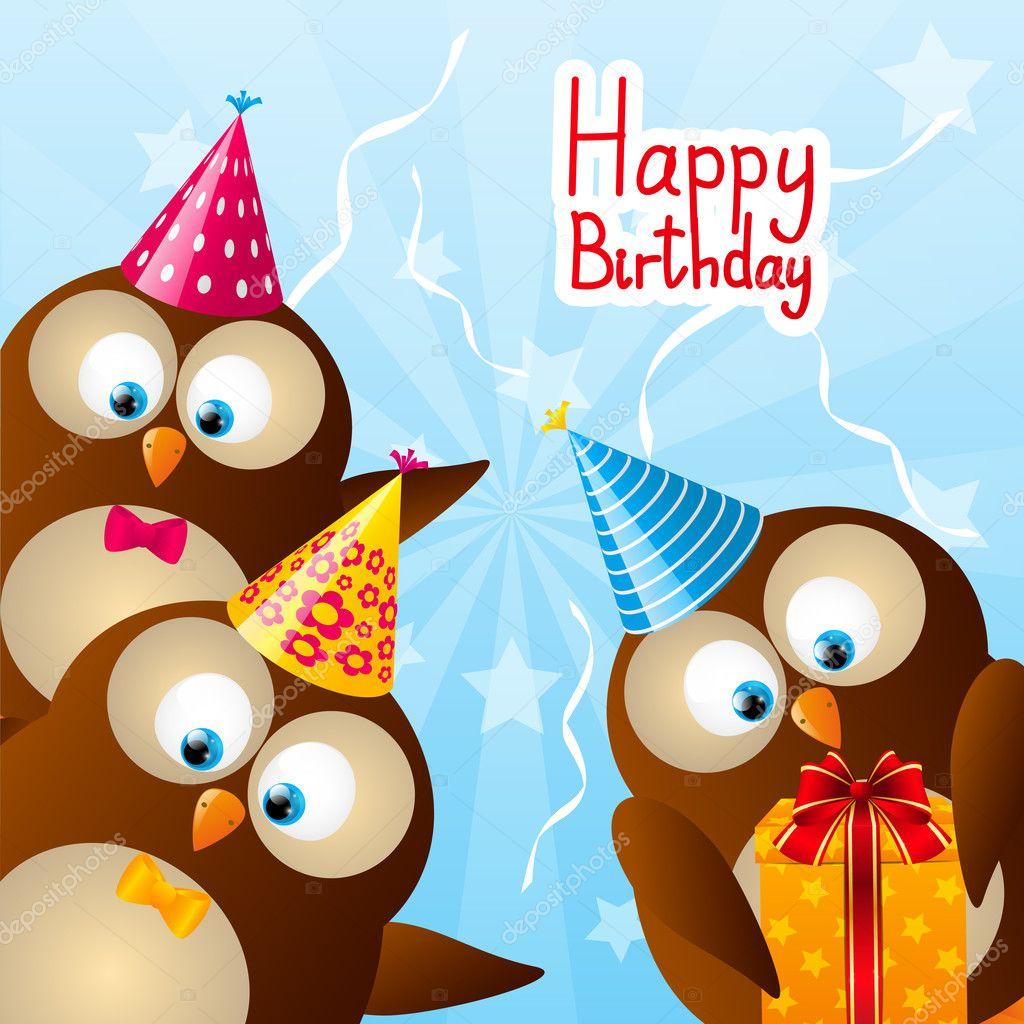 Populair Verjaardag card met grappige uilen — Stockvector © Huhli13 #48096987 @BE-65