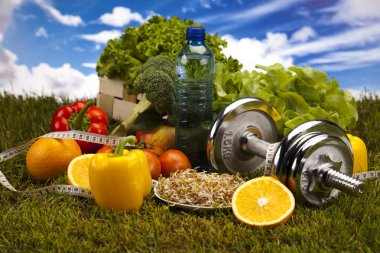 Fitness Food and green grass with blue sky