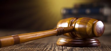 Judges wooden gavel, law