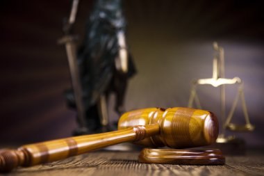 Law theme, mallet of judge,wooden gavel