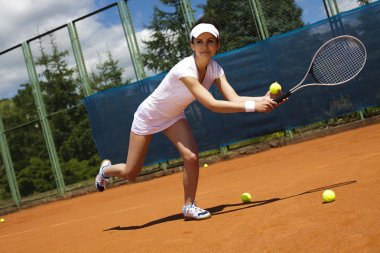 Tennis player ready for a serve