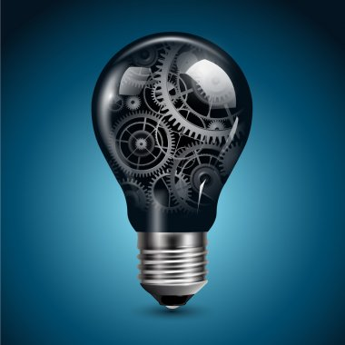 Light bulb with gears inside, vector. stock vector