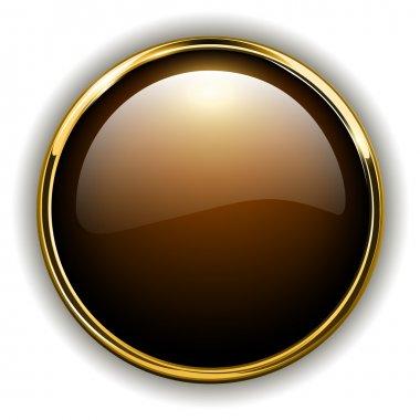 Gold button shiny metallic, vector illustration stock vector