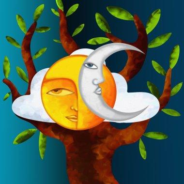 sun moon and tree
