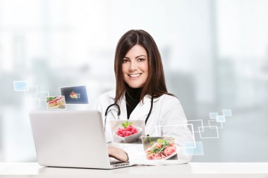Conceptual photo of a female nutritionist stock vector