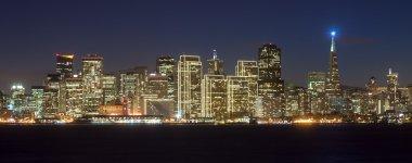 San Francisco skyline at night, with holiday season lights. stock vector