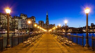 Pier 7 panorama in San Francisco at night. stock vector