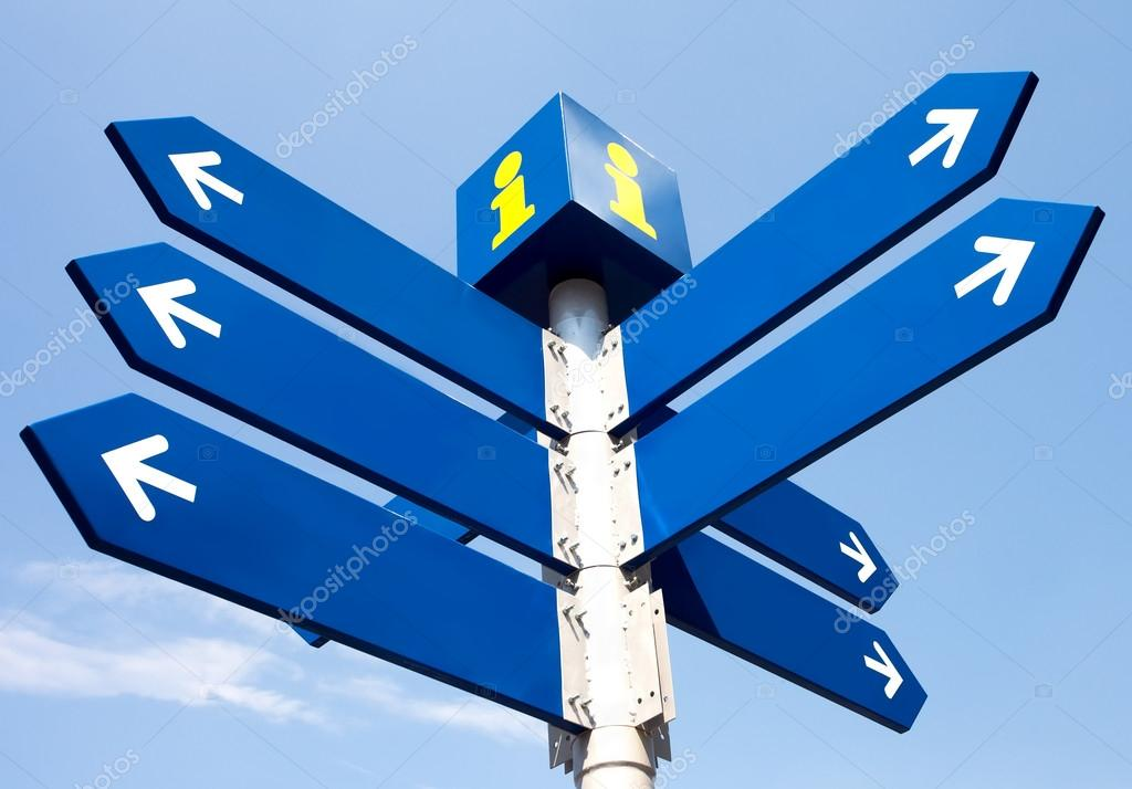 Blank directional road signs