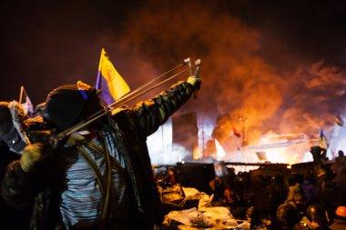 KIEV, UKRAINE - January 24, 2014: Mass anti-government protests