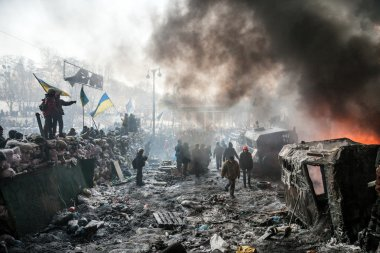 KIEV, UKRAINE - January 25, 2014: Mass anti-government protests