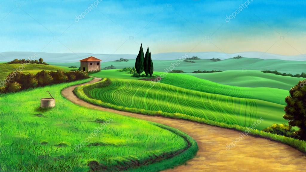 Country landscape in Tuscany,