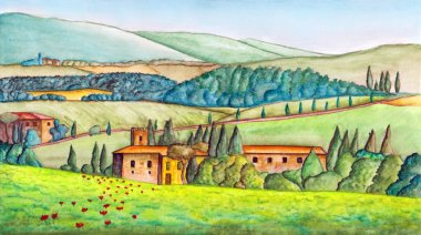 Beautiful italian country landscape, painted in watercolor. Original illustration. stock vector