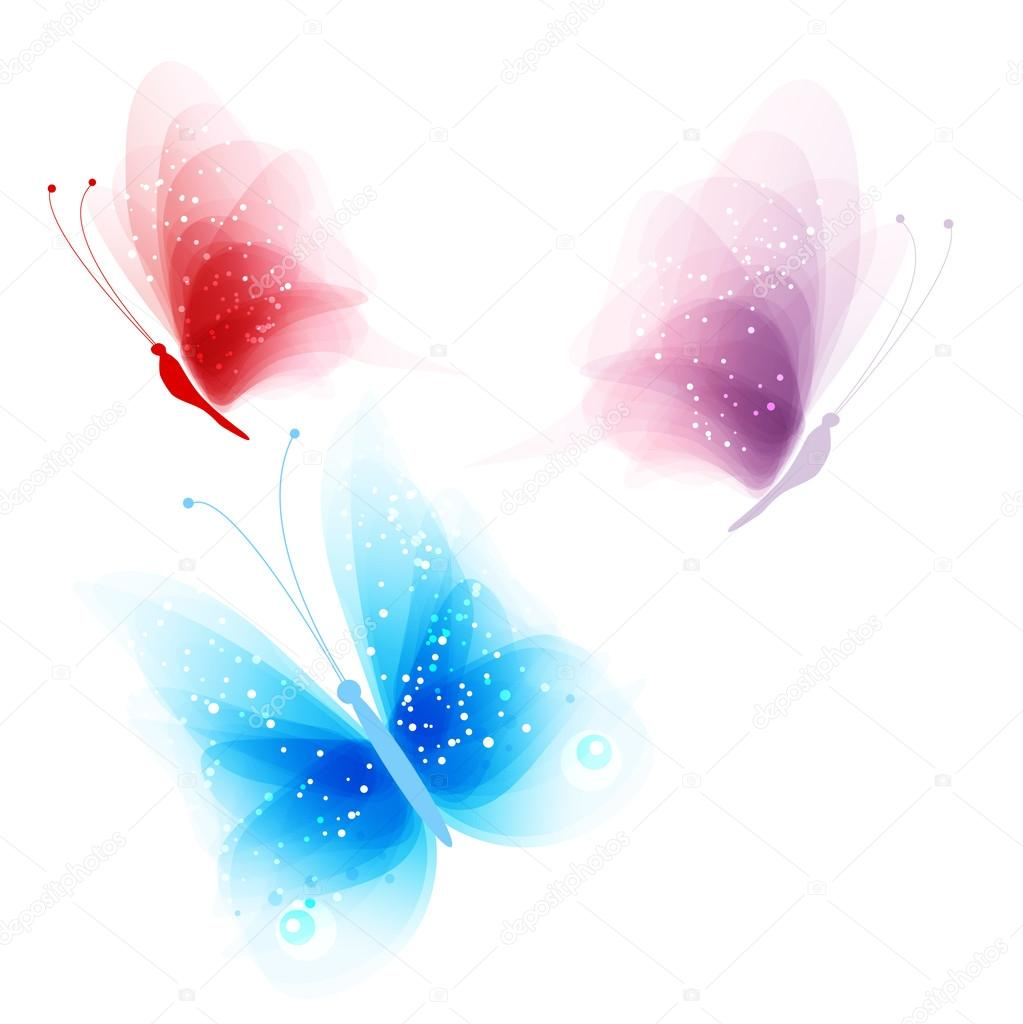 colored butterflies on a white background u2014 stock vector almatea